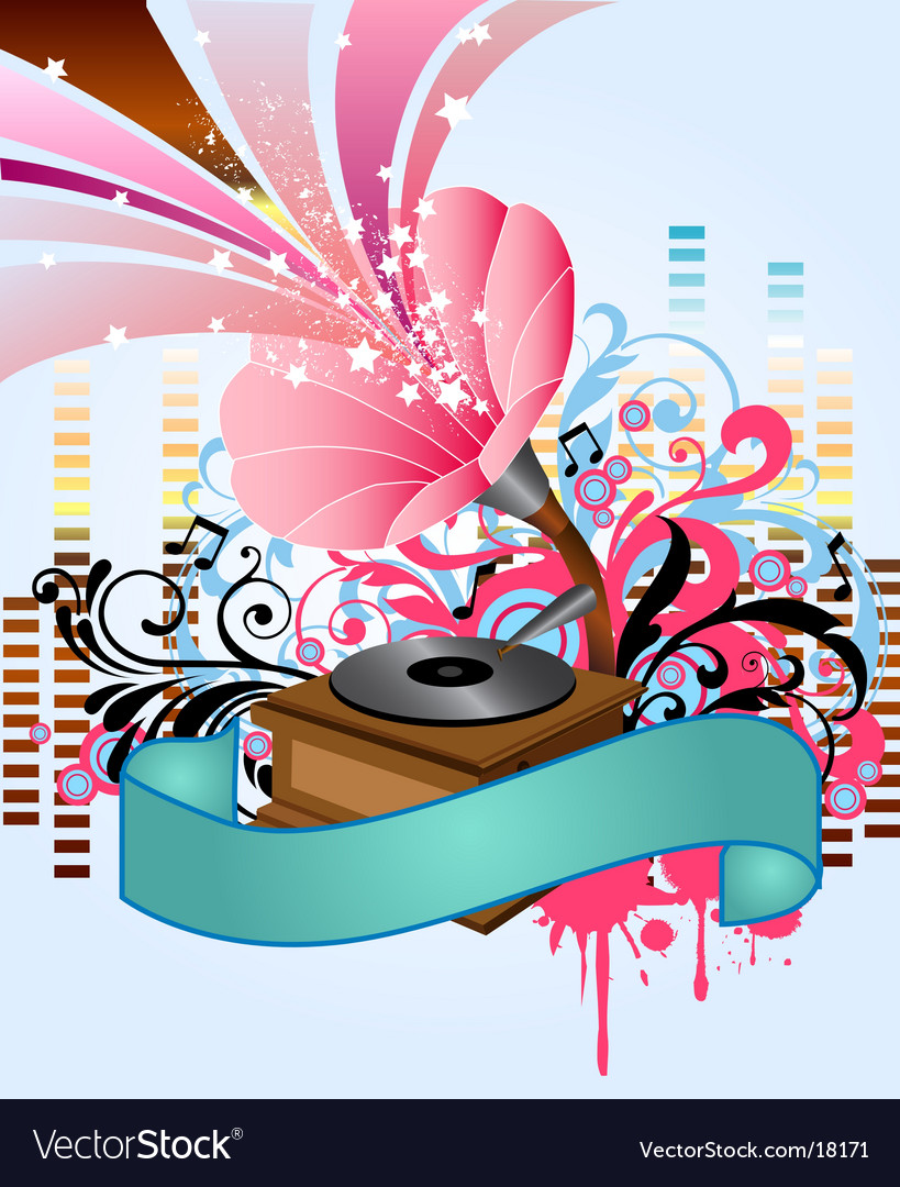 Pop music gramophone vector image