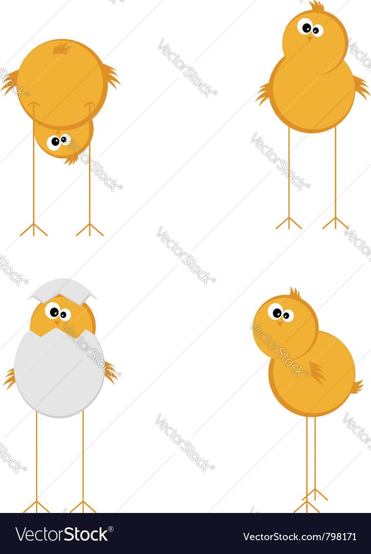 Funny chicken set vector image