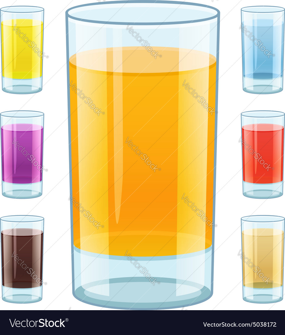 Glass with fresh fruity juice vector image