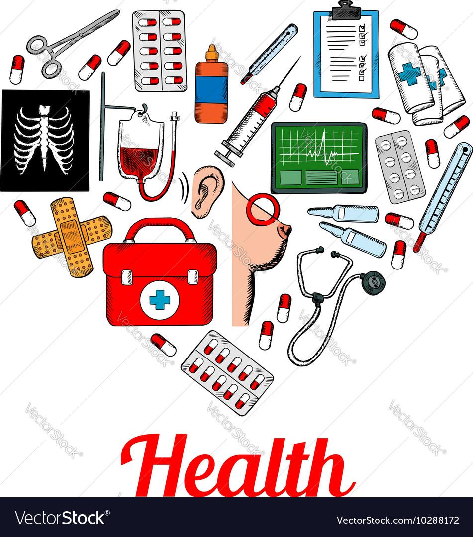 Medical symbols poster in heart shape vector image