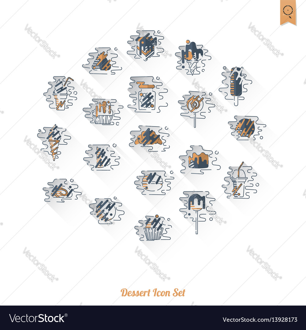 Dessert icon set in modern flat design style vector image