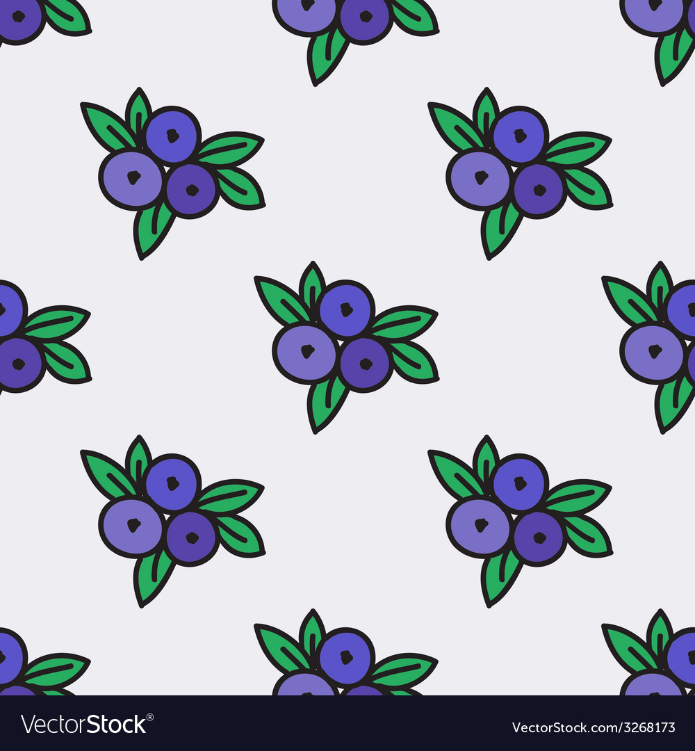 Seamless pattern with blueberry vector image