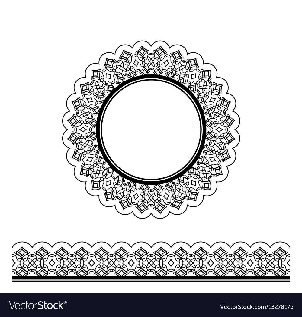 Black decorative border and circle frame vector image