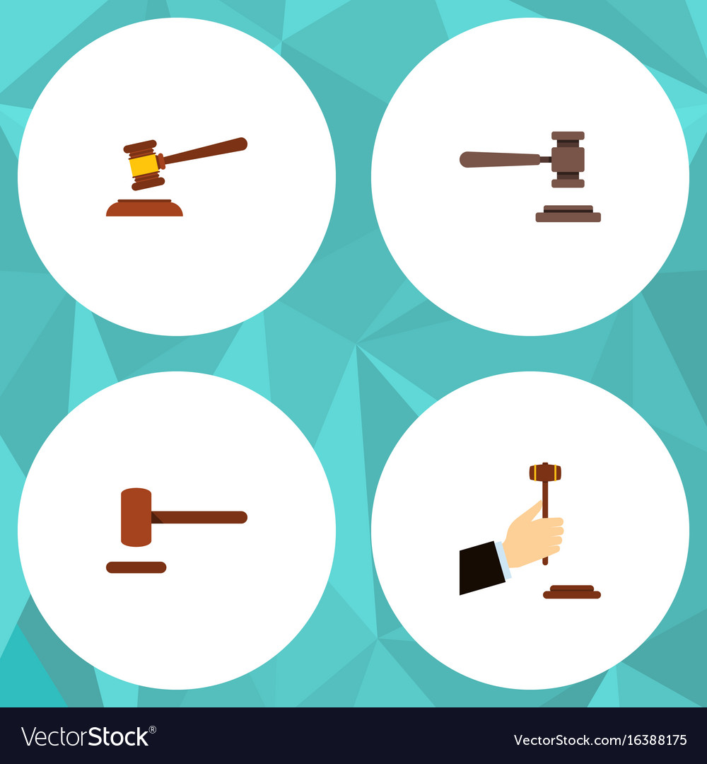 Flat icon hammer set of hammer law defense and vector image