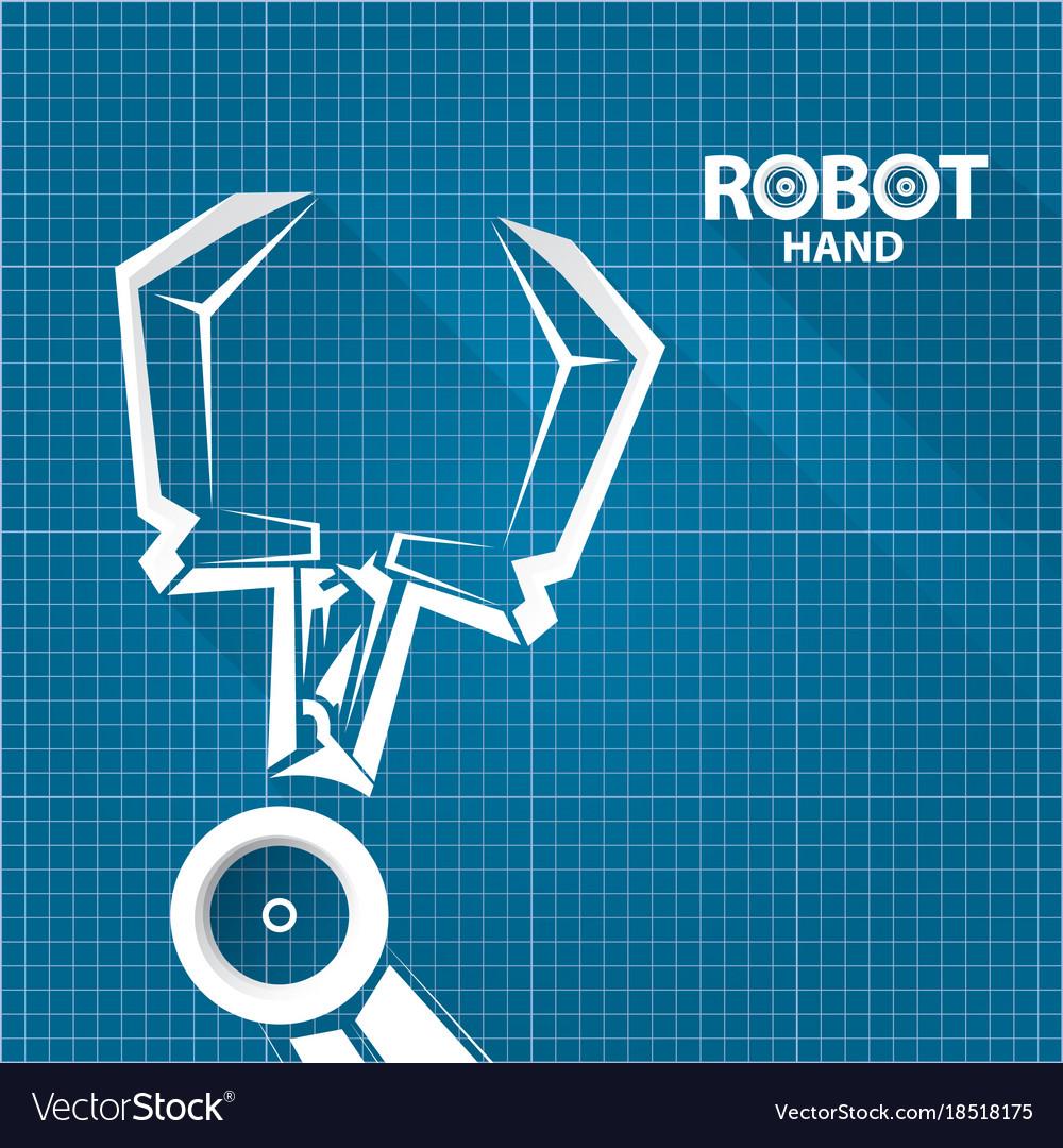 Robotic arm symbol on blueprint paper royalty free vector robotic arm symbol on blueprint paper vector image malvernweather Images