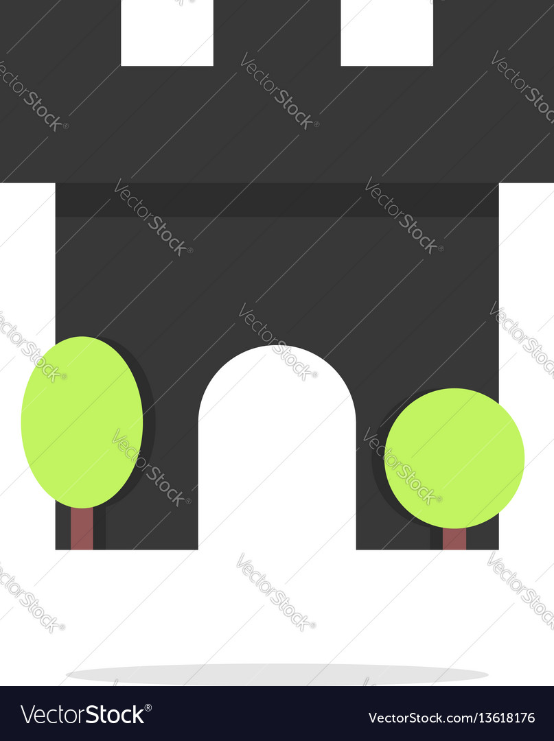 Black fortress icon with trees and shadow vector image