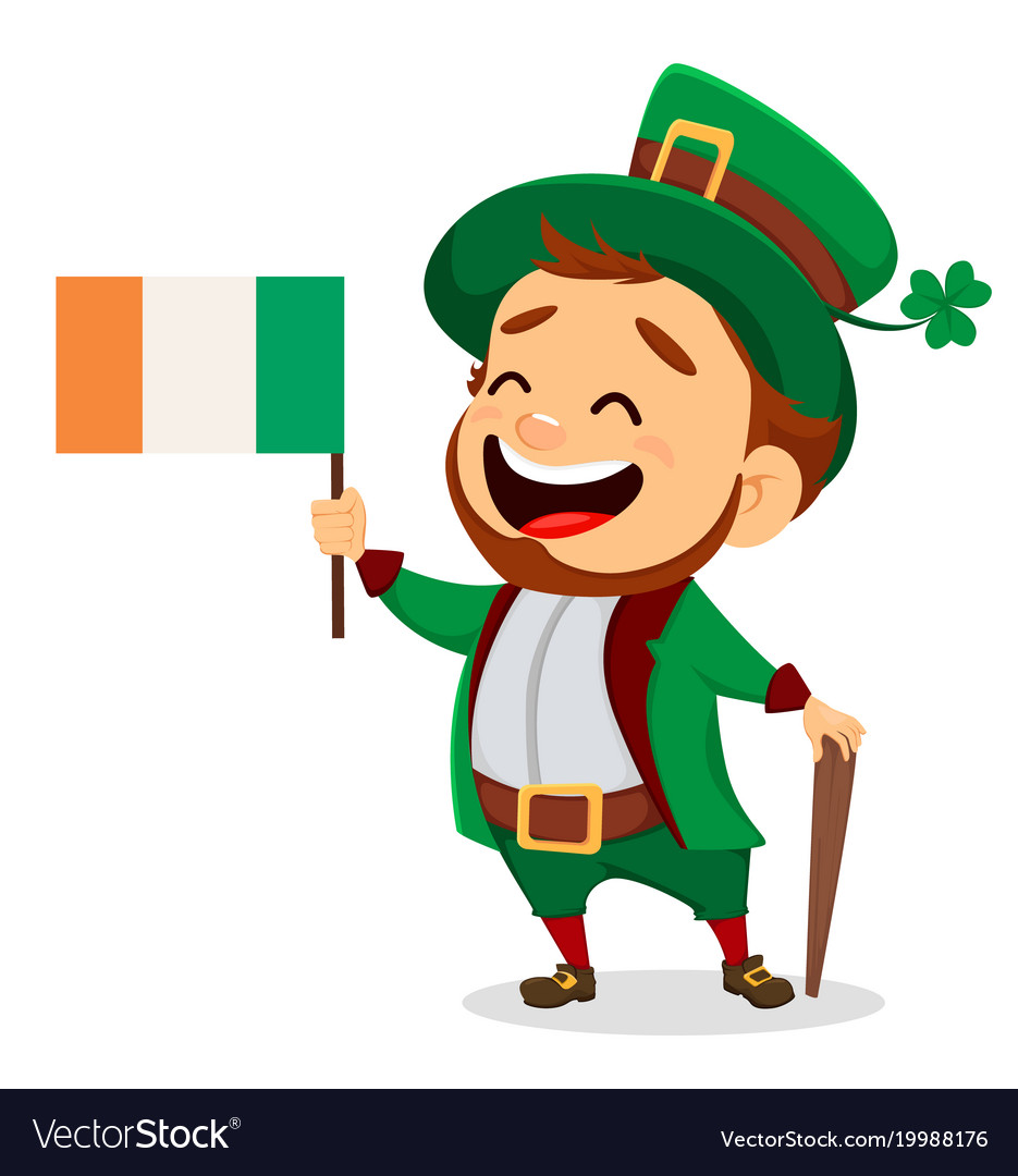 Cartoon funny leprechaun with irish flag and cane vector image altavistaventures Choice Image