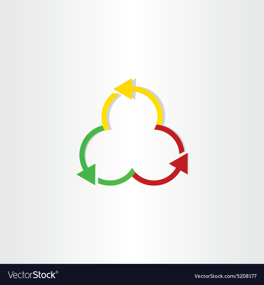 Red green and yellow arrows recycling symbol vector image