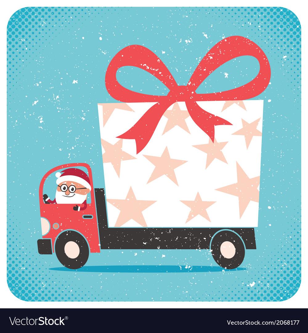 Santa Bringing Gift vector image