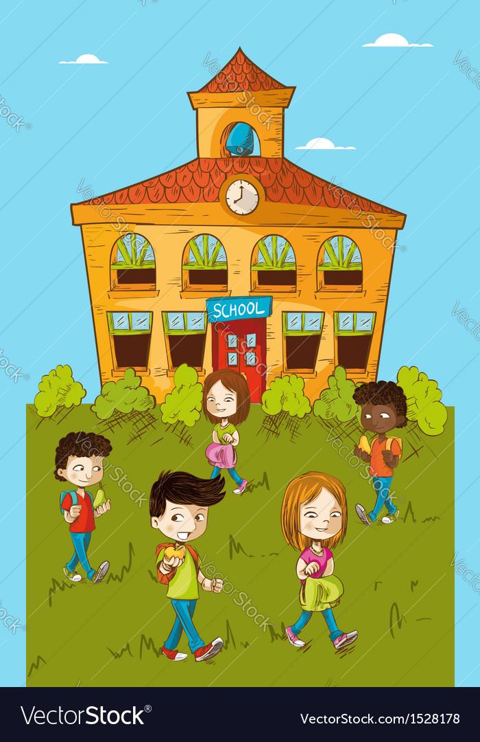 Back to school education kids cartoon vector image
