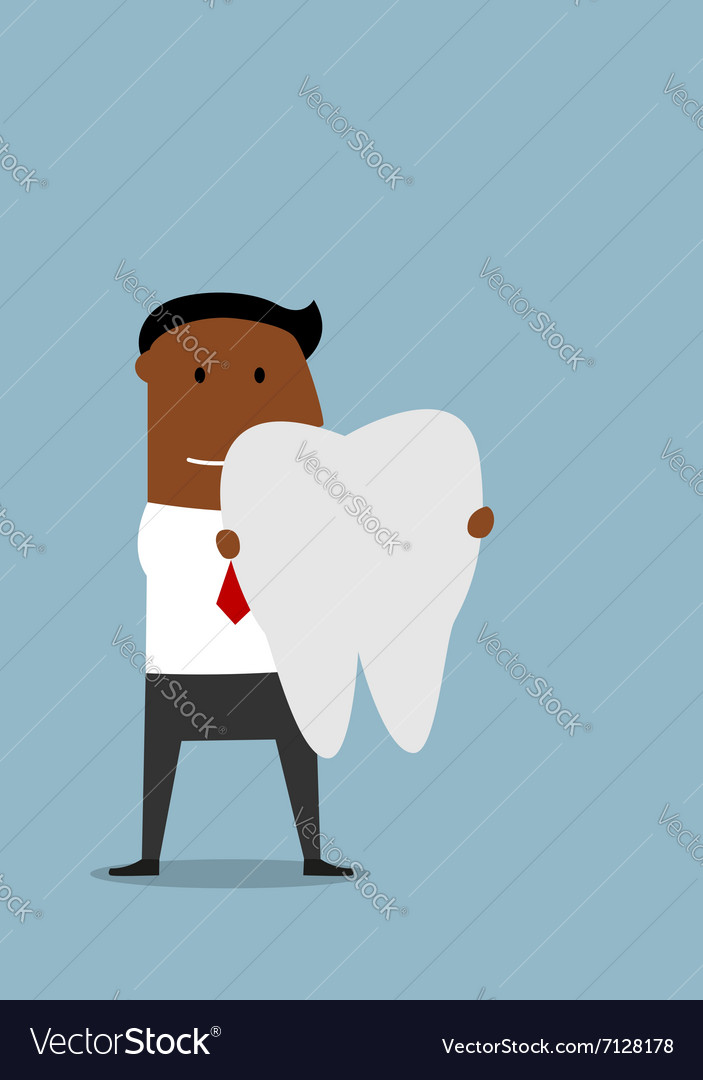 Businessman with a large white tooth vector image