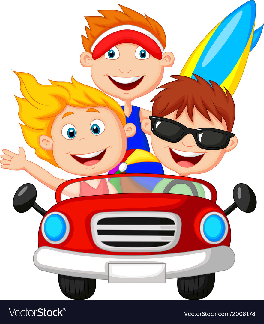 Cartoon Young man and woman having fun driving the vector image