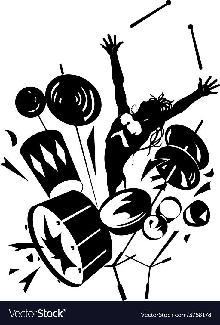 Rock drummer silhouette vector image