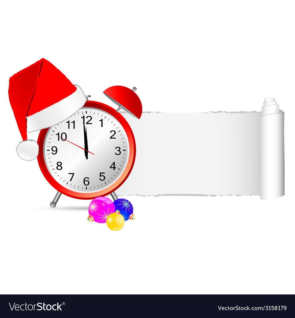 Christmas clock with tearing paper color vector image