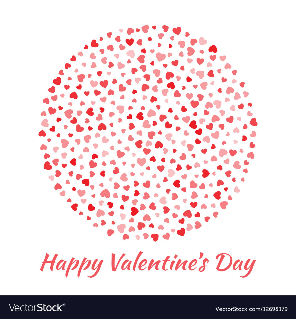 Circle red Hearts Valentines Day card Background vector image