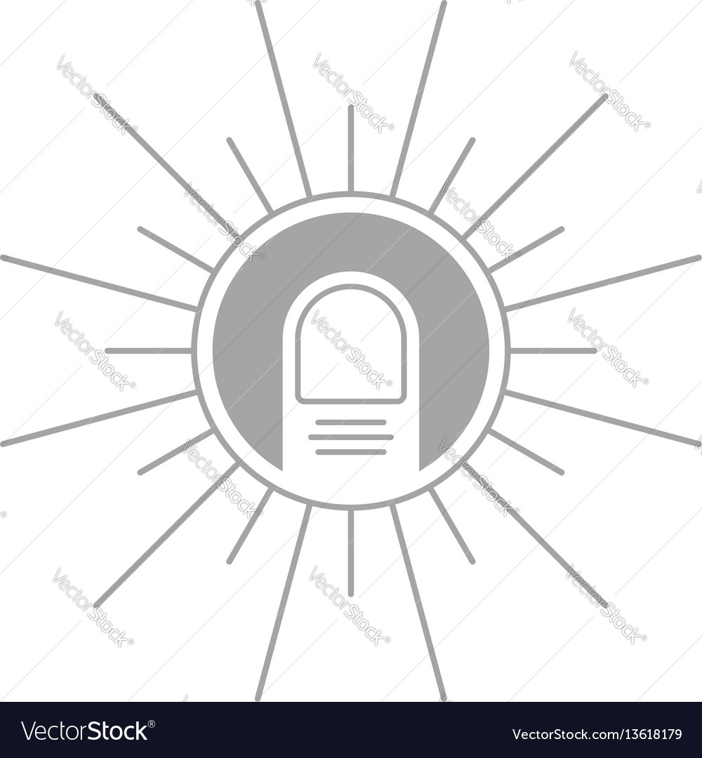 Push the button with line finger vector image