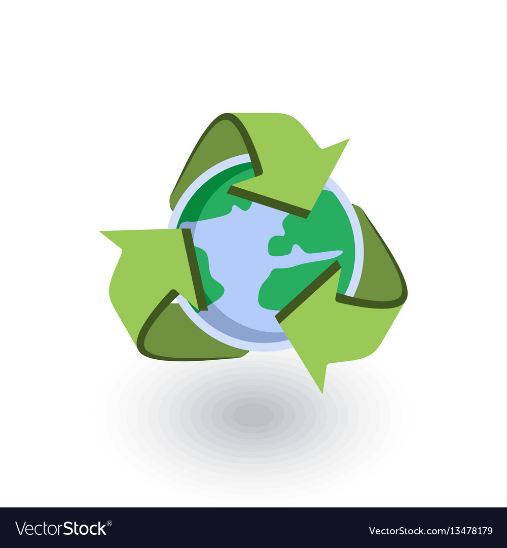 Recycle arrows and earth isometric flat icon 3d vector image