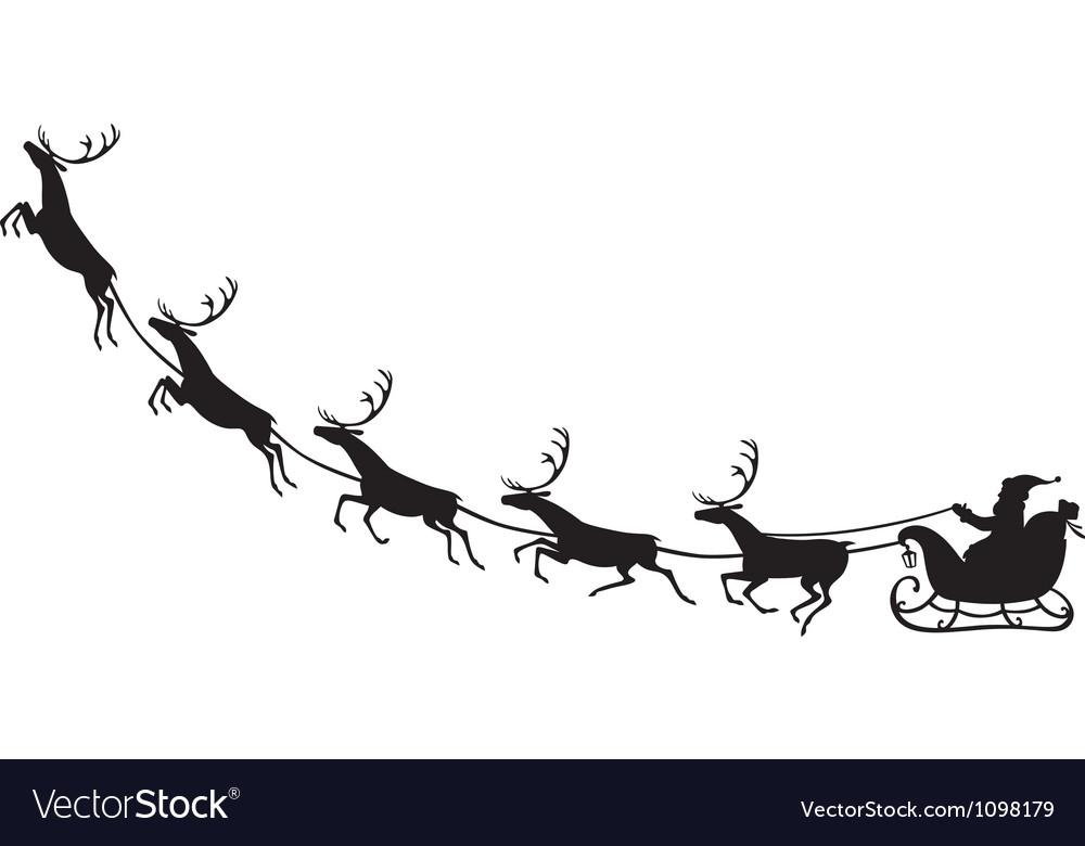 Santa Claus riding on a reindeer sleigh vector image