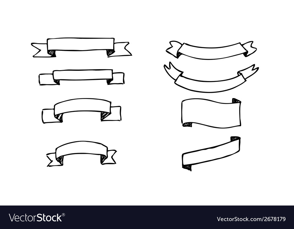 Set of hand-drawn banners vector image