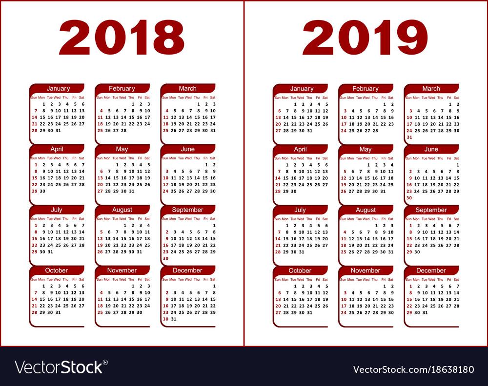 Calendar 2018 2019 vector image