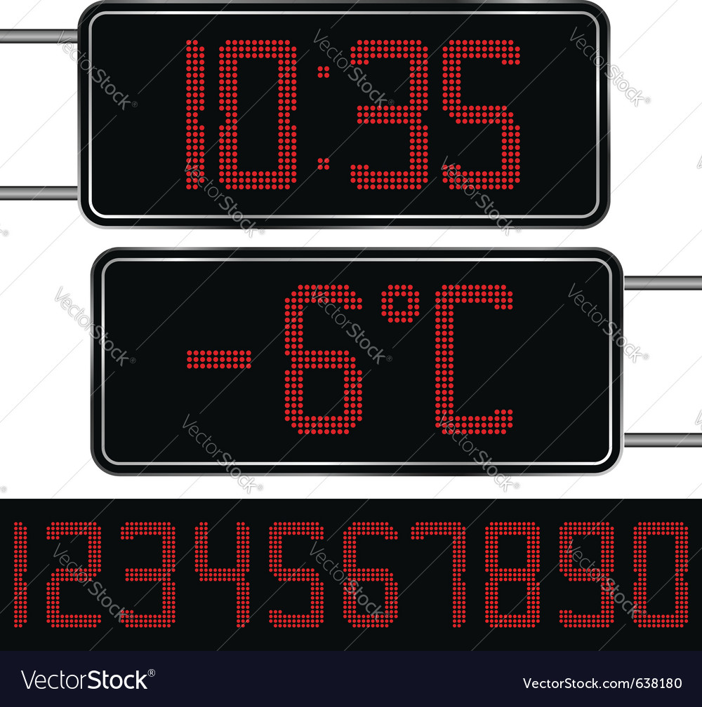 Digital clock and thermometer vector image