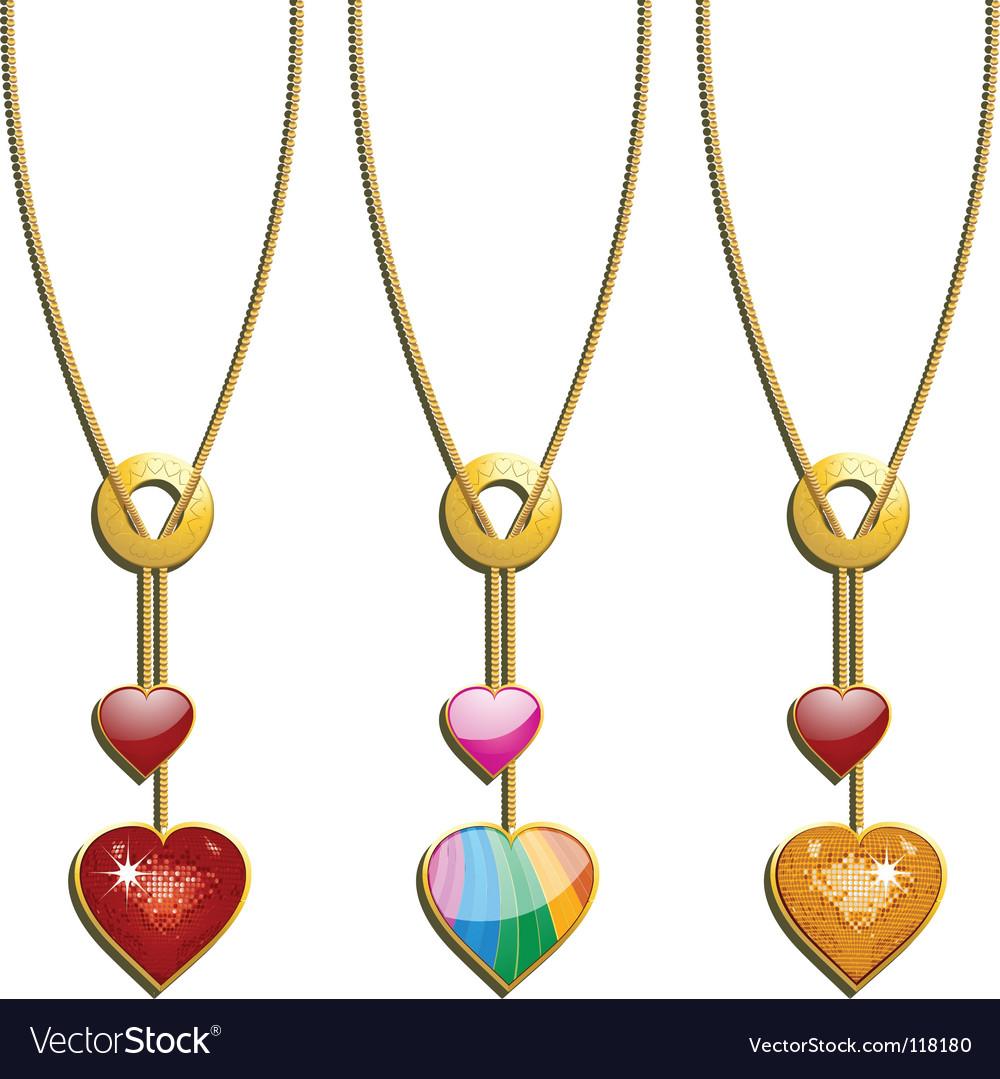 Valentineu0027s Heart Necklaces Vector Image