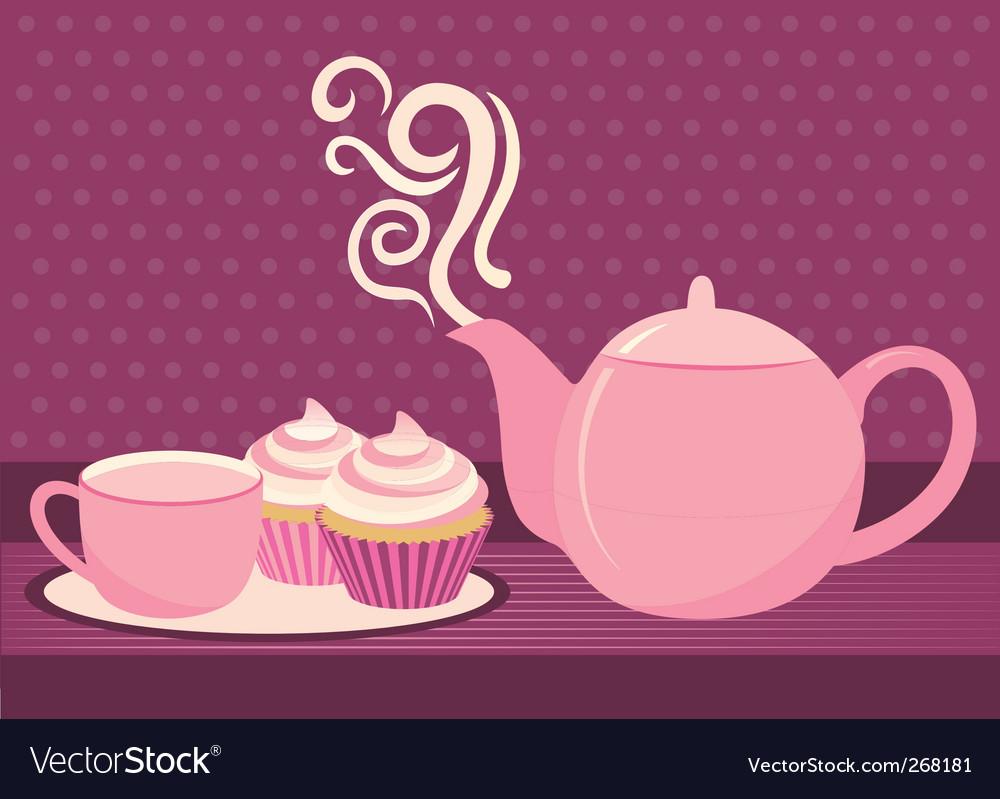 Cupcake and tea Vector Image