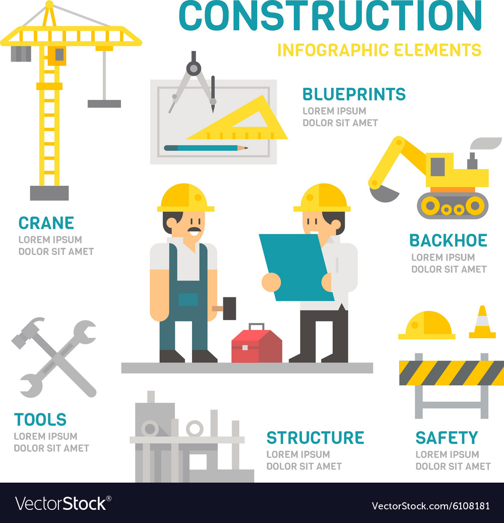 Construction site flat design infographic vector image