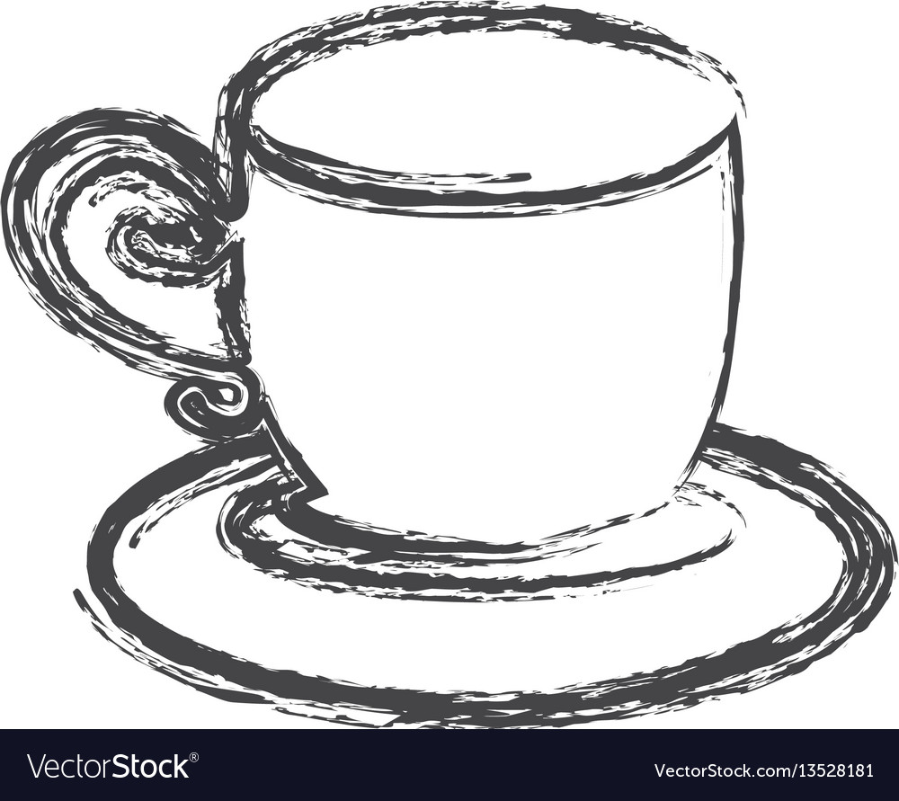 Contour cup with plate icon vector image