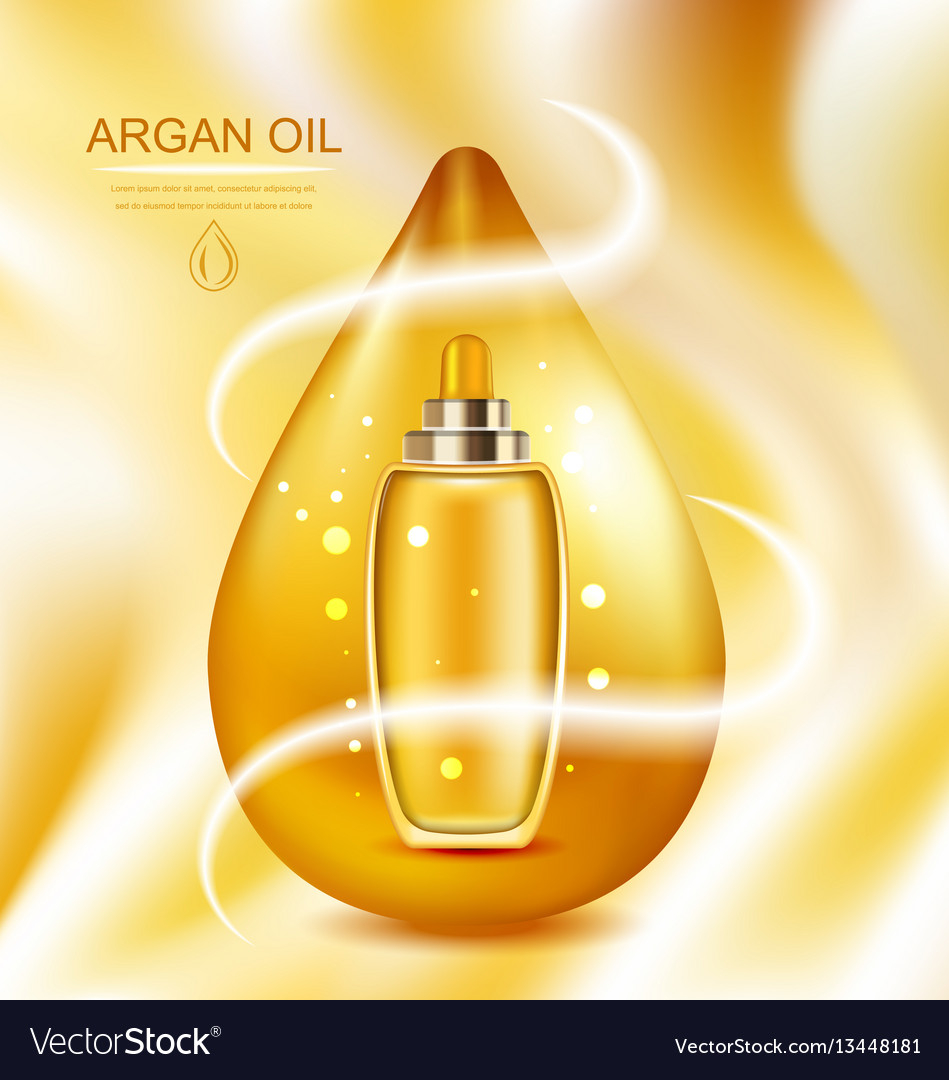 Cosmetic product with argan oil wellness complex vector image