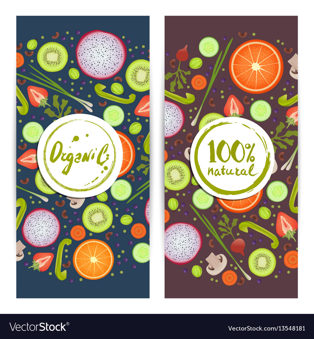Organic food vertical flyers set vector image