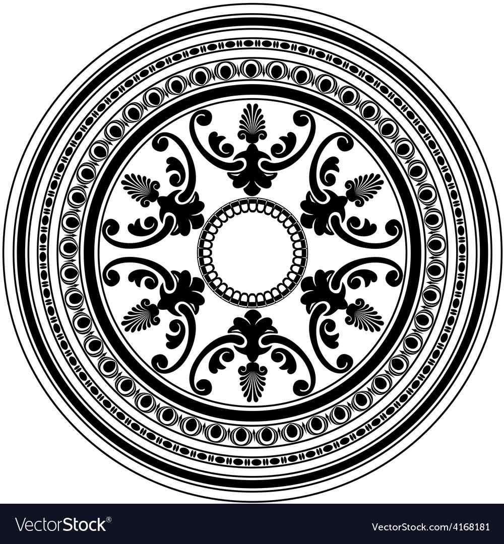 Round decorative black ornament isolated on white vector image