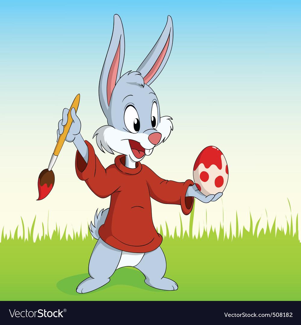 Cartoon easter rabbit paint the egg vector image