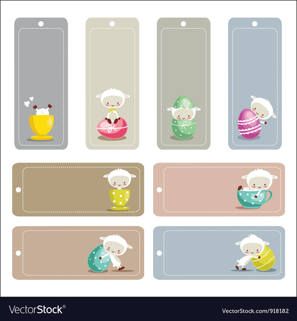 Cute easter labels vector image