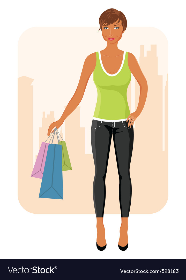 Girl with purchases goes around city vector image