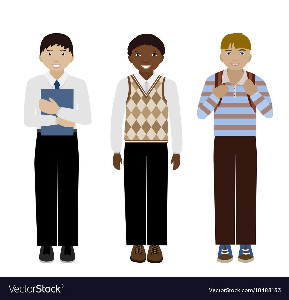 School boys flat vector image