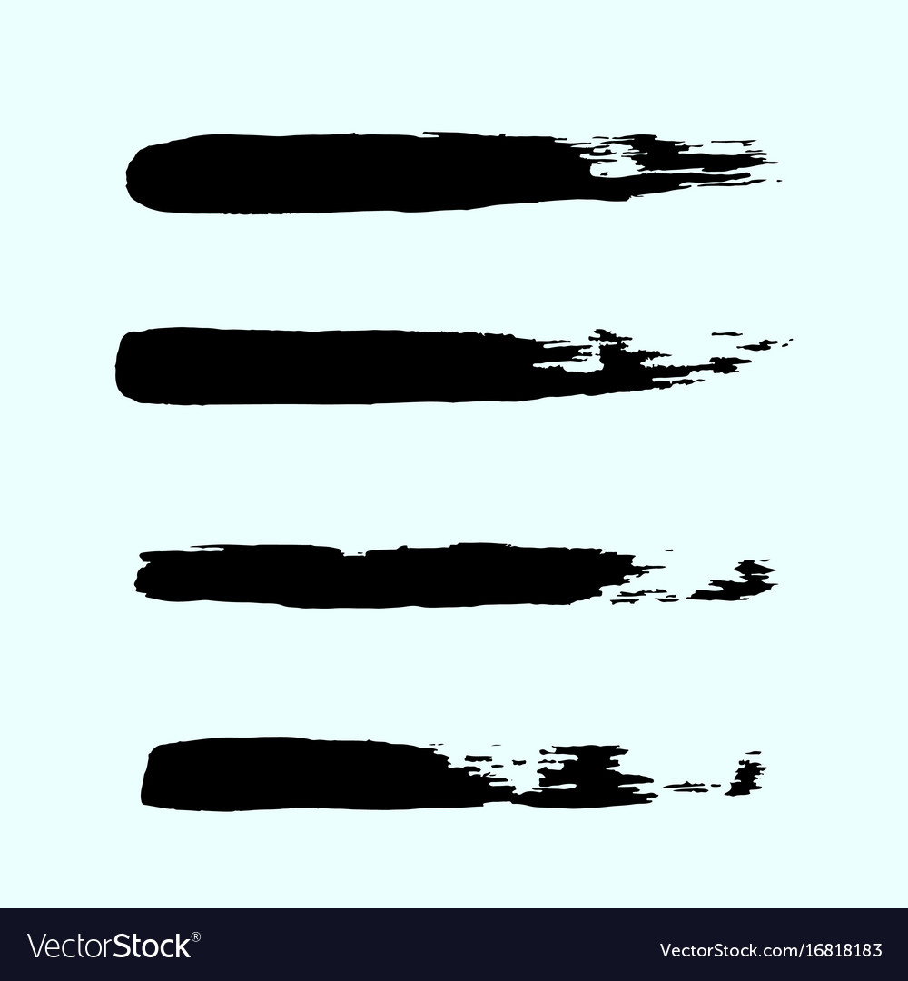 Set of black ink brush strokes brushes lines on vector image