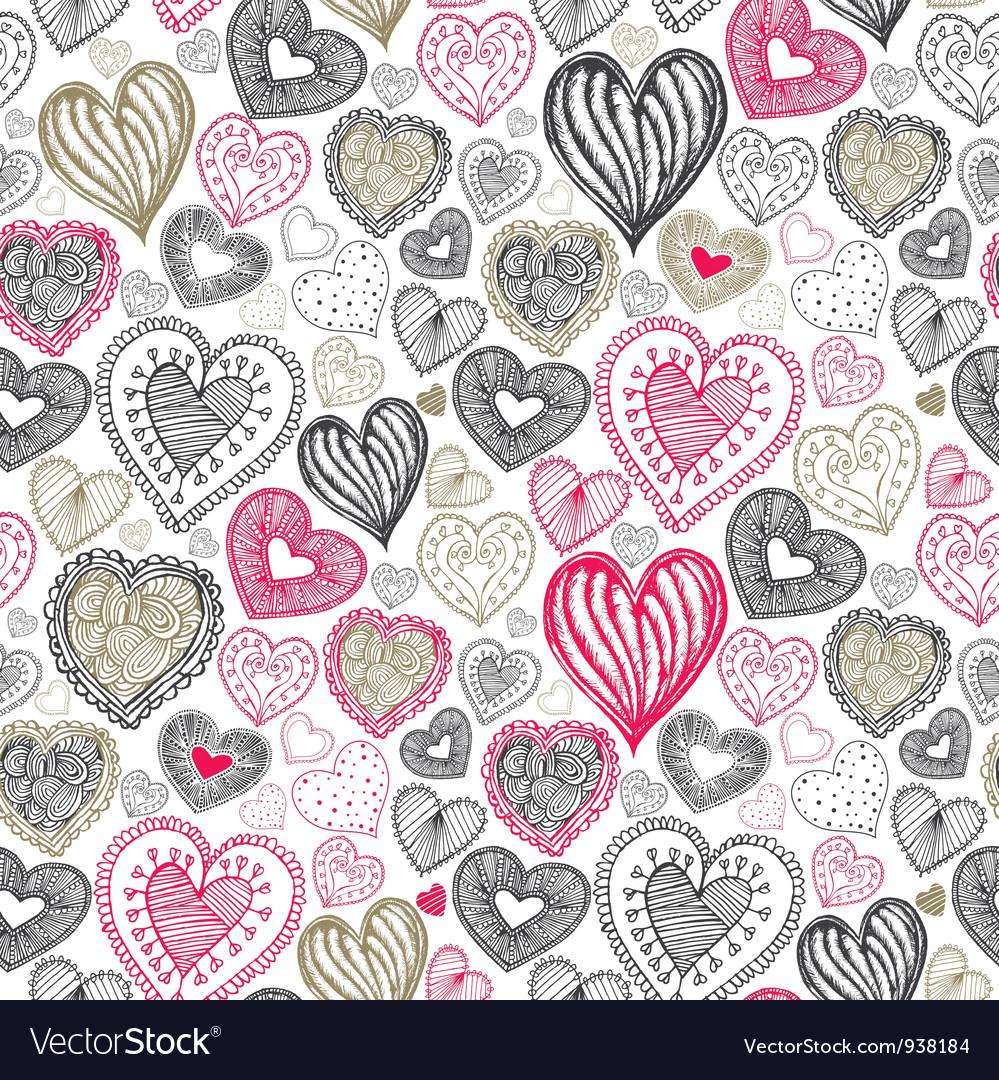 Vintage love doodle pattern vector image