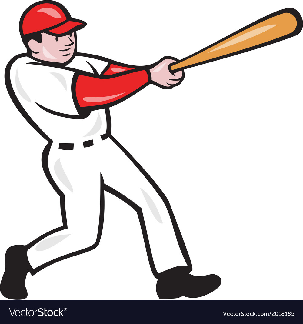 baseball player batting isolated cartoon vector image rh vectorstock com baseball player victor martinez baseball player vector art