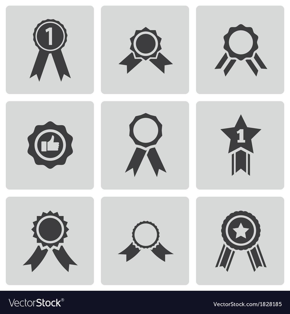 Black award medal icons set vector image