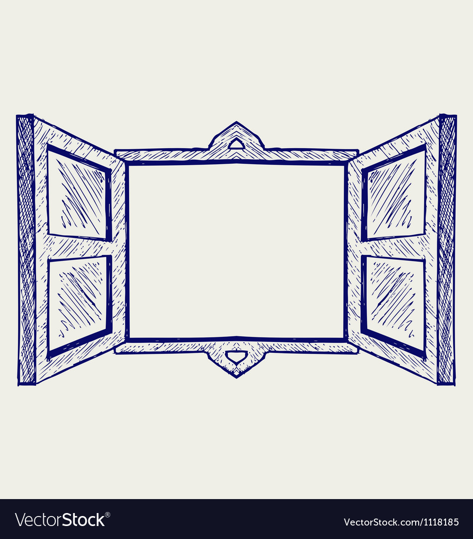 Wooden window vector image