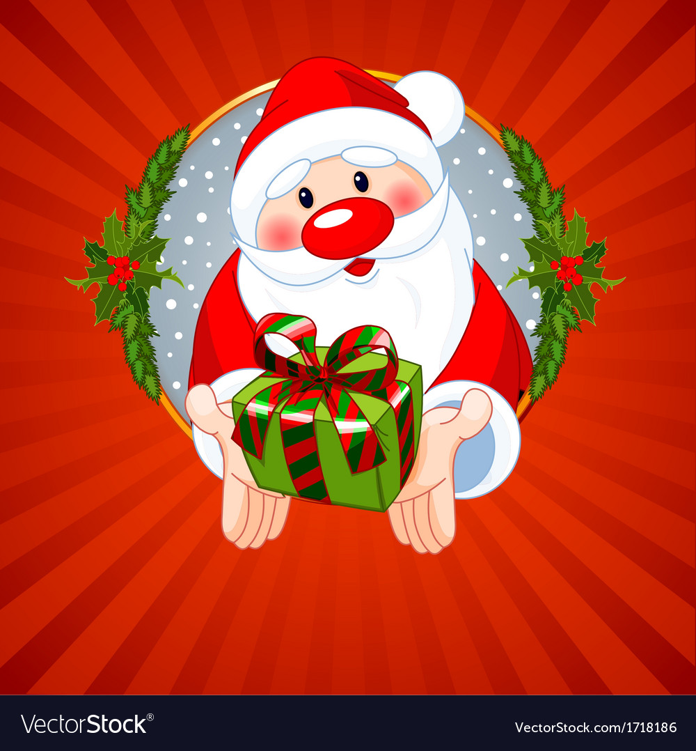 Santa Claus Christmas greeting card with Santa Cla vector image