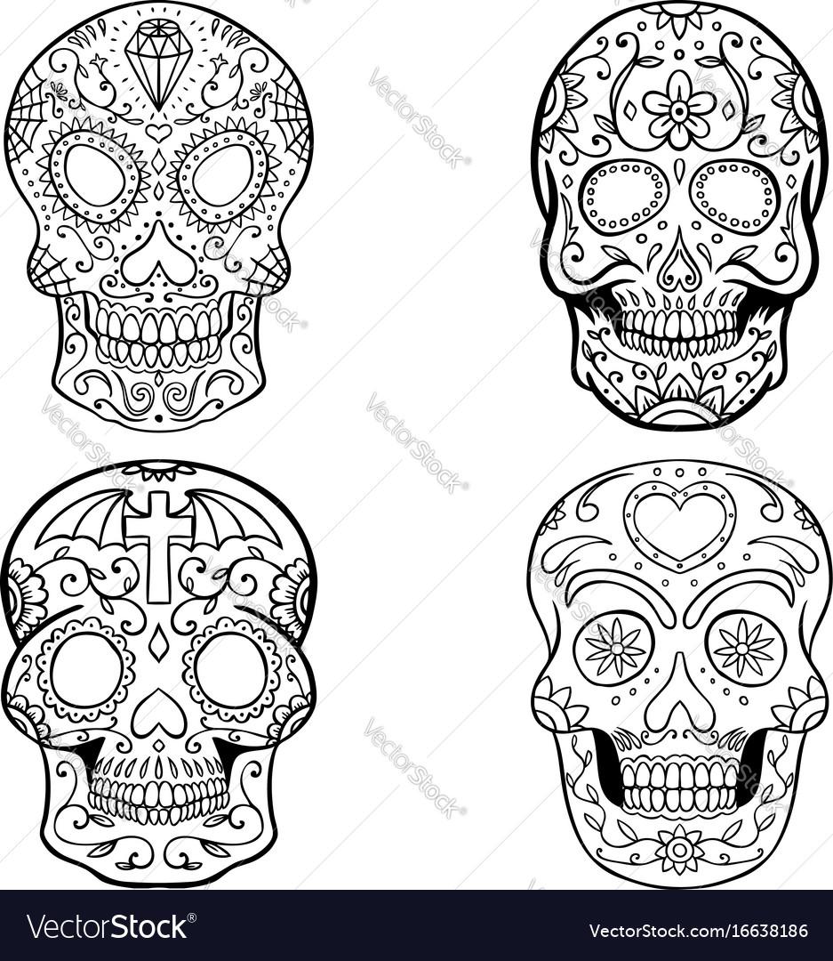 Set of sugar skulls isolated on white backgroun vector image