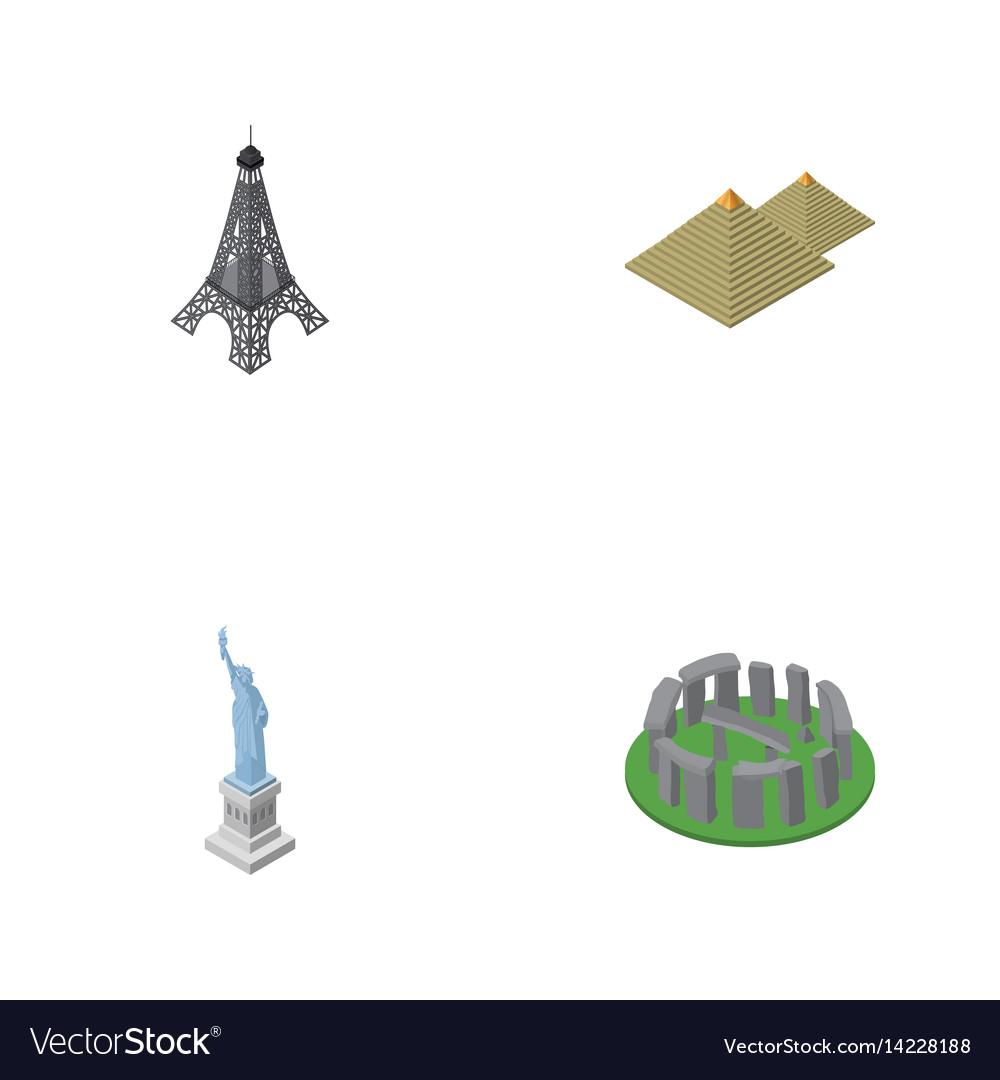 Isometric architecture set of new york england vector image