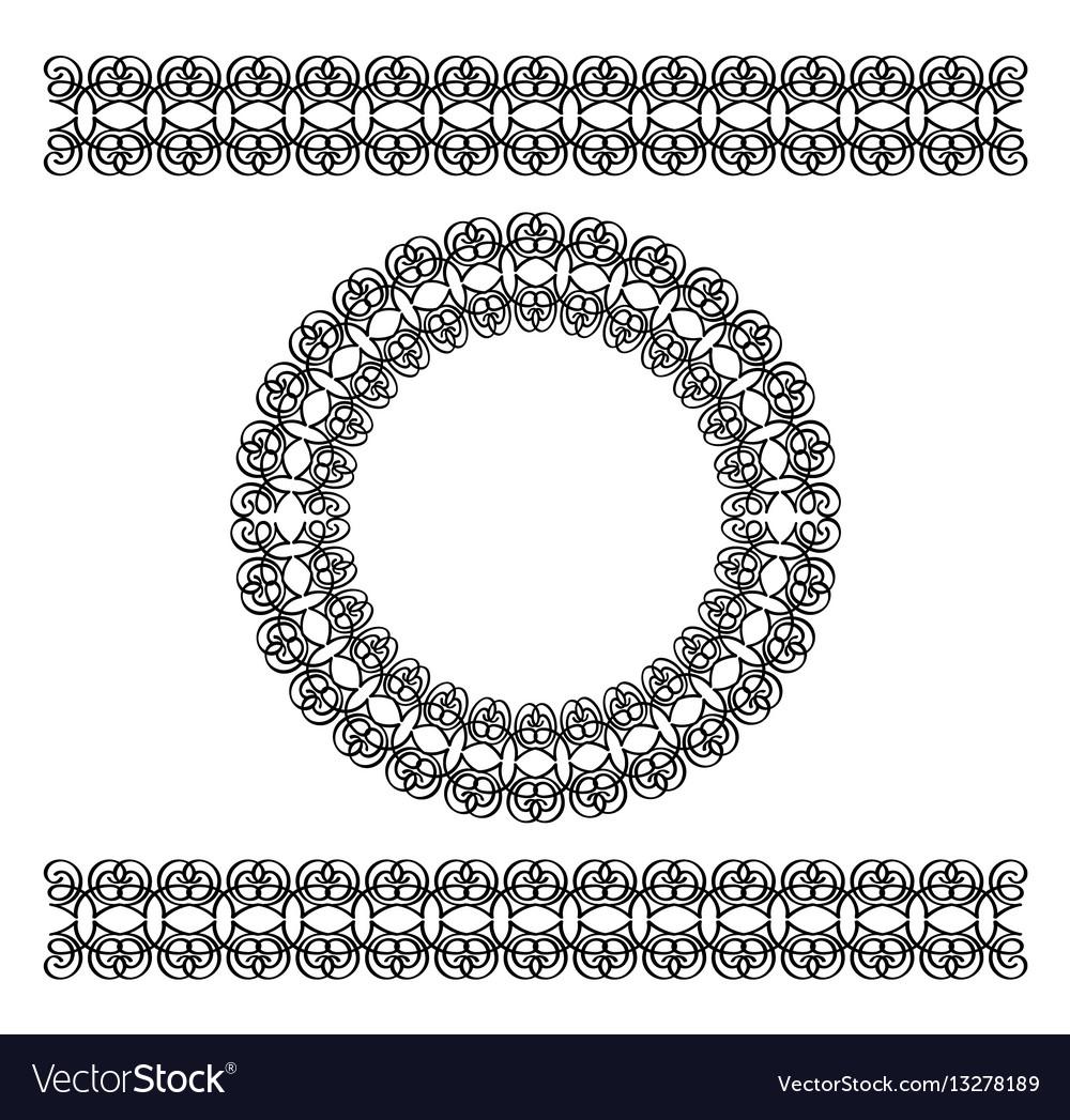 Black scythian border and circle frame vector image
