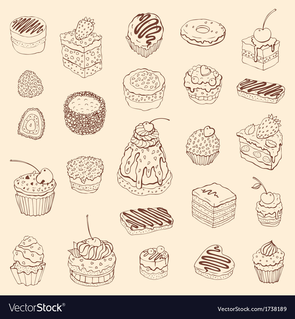 Set of cute cake Outline vector image