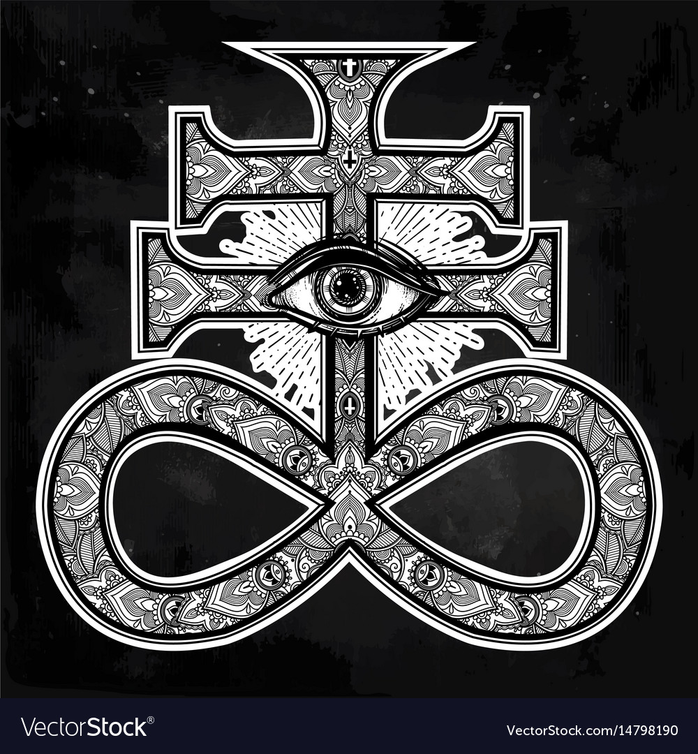 The satanic cross with evil eye demon leviathan vector image