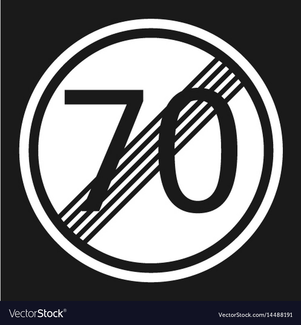 End maximum speed limit 70 sign flat icon vector image