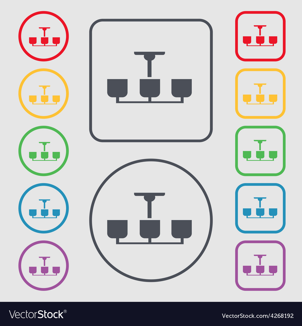 Chandelier Light Lamp icon sign symbol on the Vector Image