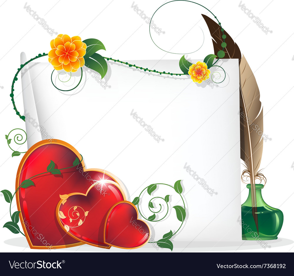 Valentine hearts flowers and paper scroll vector image
